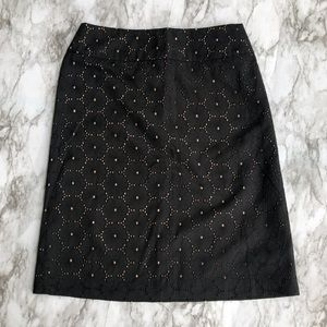 Talbots Black &Peach Floral Patterned Pencil Skirt